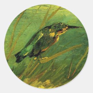 Van Gogh el martín pescador, arte del Etiquetas Redondas