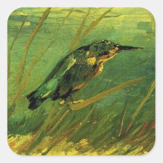 Van Gogh el martín pescador, arte del Pegatina Cuadradas