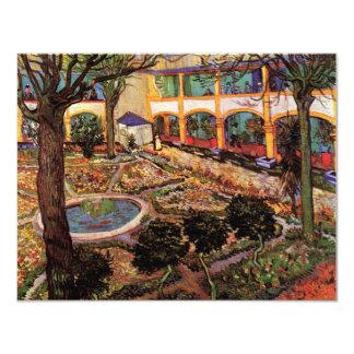 Van Gogh; El patio del hospital en Arles Invitación 10,8 X 13,9 Cm