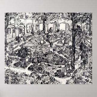 Van Gogh - el patio del hospital en Arles Posters
