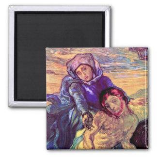 Van Gogh - el Pieta (después de Delacroix) Imán Para Frigorífico