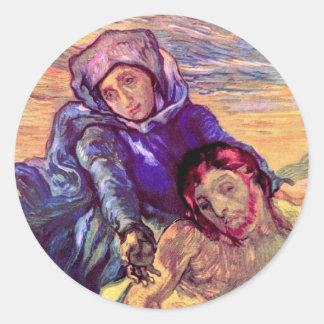 Van Gogh - el Pieta (después de Delacroix) Pegatina Redonda
