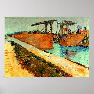 Van Gogh - el puente de Langlois con el camino Póster