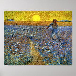 Van Gogh - el sembrador (sembrador con el sol poni Póster