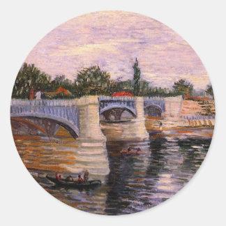 Van Gogh, el Sena Pont del Grande Jette, arte del Pegatina Redonda