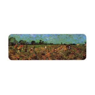 Van Gogh el viñedo verde, arte del paisaje del Etiqueta De Remite