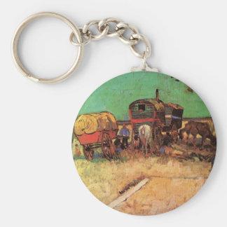Van Gogh; Encampment of Gypsies with Caravans Basic Round Button Keychain