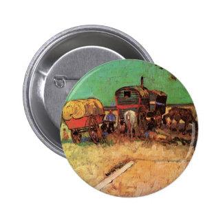 Van Gogh; Encampment of Gypsies with Caravans Pinback Button