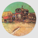 Van Gogh; Encampment of Gypsies with Caravans Round Stickers
