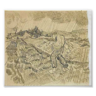 Van Gogh - Enclosed Field with a Sower in the Rain Poster