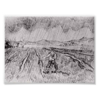 Van Gogh - Enclosed Field with a Sower in the Rain Posters