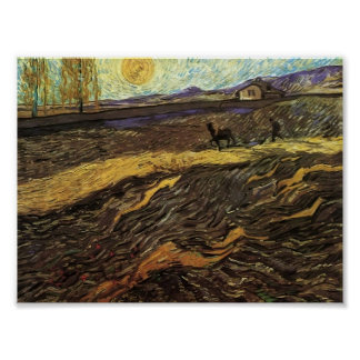 Van Gogh - Enclosed Field with Ploughman Print