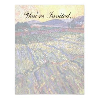 Van Gogh - Enclosed Field With Rising Sun 4.25x5.5 Paper Invitation Card
