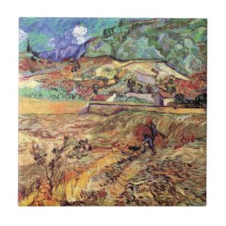 Van Gogh - Enclosed Wheat Field With Peasant Ceramic Tile