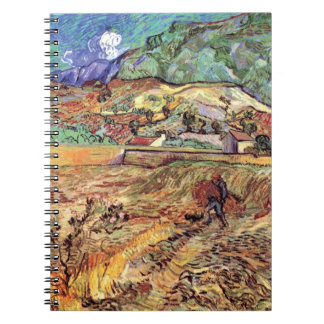 Van Gogh - Enclosed Wheat Field With Peasant Spiral Notebook