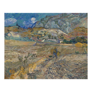 Van Gogh, Enclosed Wheat Field with Peasant Poster