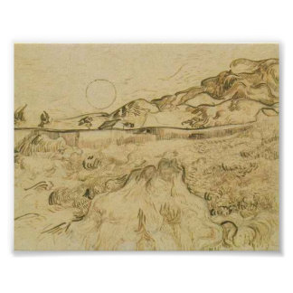 Van Gogh - Enclosed Wheat Field with Reaper Poster