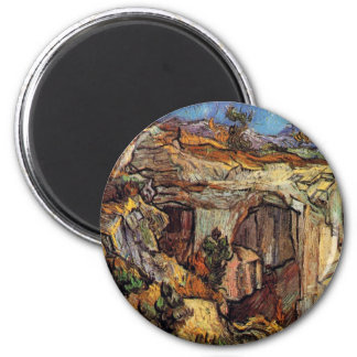 Van Gogh - Entrance To A Quarry Near Saint Remy 2 Inch Round Magnet