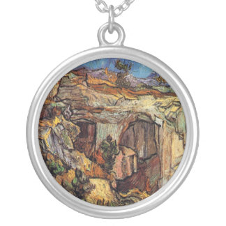 Van Gogh - Entrance To A Quarry Near Saint Remy Round Pendant Necklace