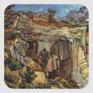 Van Gogh Entrance to a Quarry, Vintage Fine Art Square Sticker