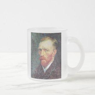 Van Gogh - estilo del Pointillism del autorretrato Taza De Cristal