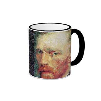 Van Gogh - estilo del Pointillism del autorretrato Taza De Dos Colores