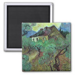 Van Gogh Farmhouse Among Olive Trees (F664) 2 Inch Square Magnet
