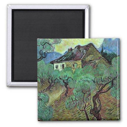 Van Gogh Farmhouse Among Olive Trees (F664) Refrigerator Magnets