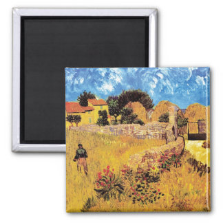 Van Gogh - Farmhouse In Provence 2 Inch Square Magnet
