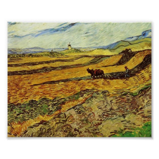 Van Gogh - Field and Ploughman and Mill Poster