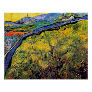 Van Gogh - Field Of Spring Wheat At Sunrise Poster