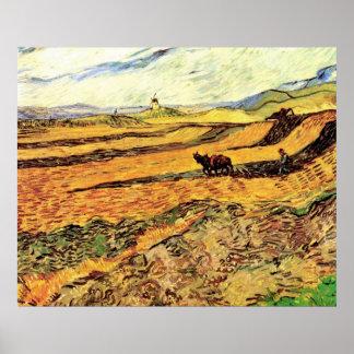 Van Gogh Field w Ploughman and Mill, Vintage Farm Poster