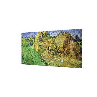 Van Gogh Field w Wheat Stacks, Vintage Fine Art Canvas Print