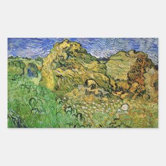 Van Gogh Field w Wheat Stacks, Vintage Fine Art Rectangular Sticker