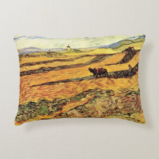 Van Gogh Field with Ploughman and Mill, Fine Art Accent Pillow