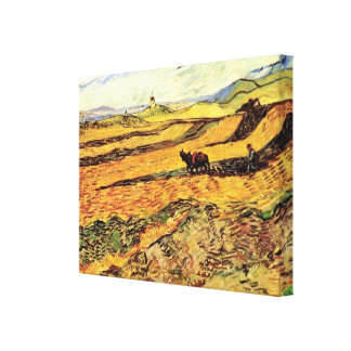 Van Gogh Field with Ploughman and Mill, Fine Art Canvas Print