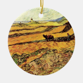 Van Gogh Field with Ploughman and Mill, Fine Art Ceramic Ornament