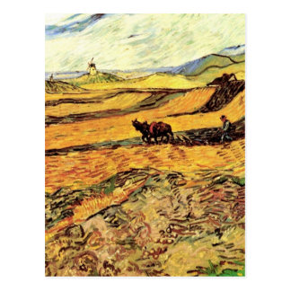 Van Gogh Field with Ploughman and Mill, Fine Art Postcard