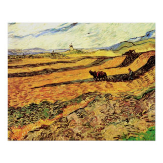 Van Gogh Field with Ploughman and Mill, Fine Art Poster