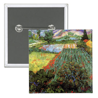 Van Gogh - Field with Poppies 2 Inch Square Button