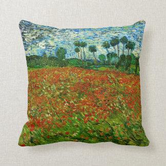 Van Gogh Field with Poppies (F636) Fine Art Throw Pillow