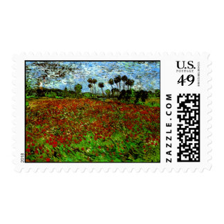 Van Gogh Field with Poppies (F636) Fine Art Stamps