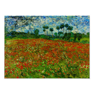 Van Gogh Field with Poppies (F636) Fine Art Poster
