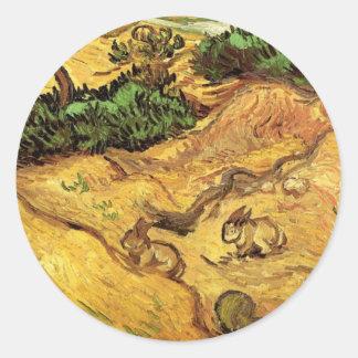 Van Gogh Field with Two Rabbits, Vintage Fine Art Classic Round Sticker
