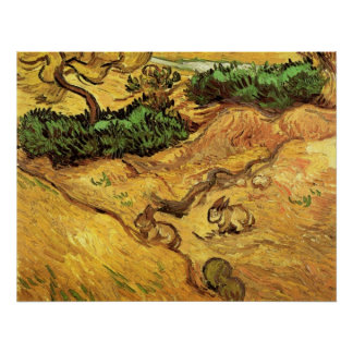 Van Gogh Field with Two Rabbits, Vintage Fine Art Poster