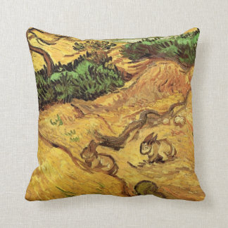 Van Gogh Field with Two Rabbits, Vintage Fine Art Throw Pillow
