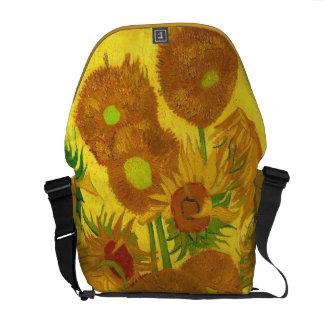 Van Gogh Fifteen Sunflowers In A Vase Fine Art Messenger Bag