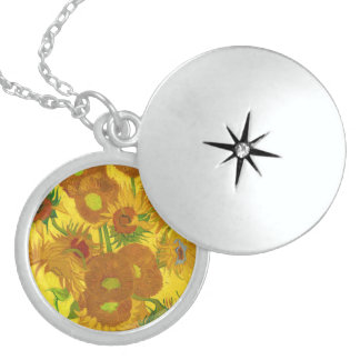 Van Gogh Fifteen Sunflowers In A Vase Fine Art Sterling Silver Necklace