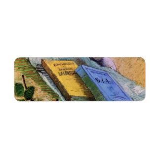 Van Gogh figurilla del yeso un color de rosa y d Etiquetas De Remite