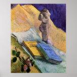 Van Gogh, figurilla del yeso, un color de rosa y d Poster